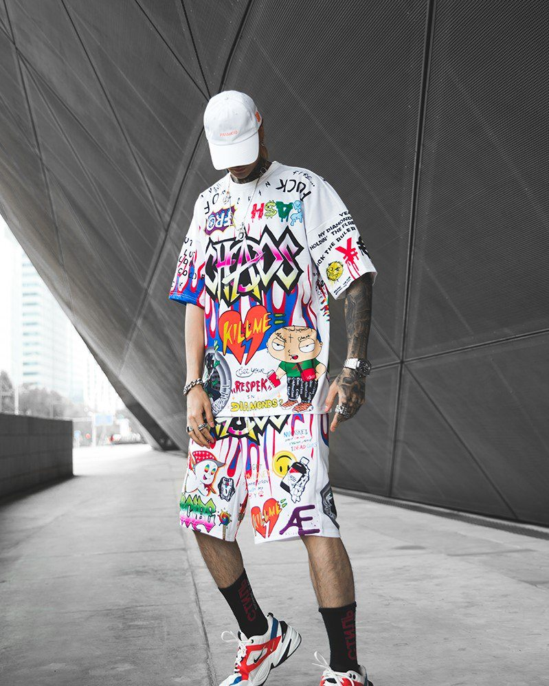 《2色》CHAOSカートゥーングラフィティショートパンツの画像2